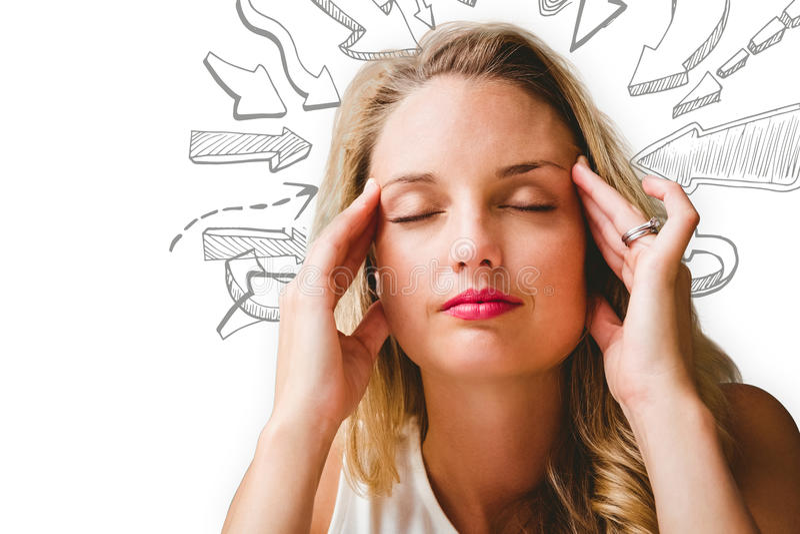 Immagine composita della donna con l'emicrania illustrazione di stock