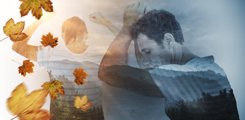Immagine composita della donna depressa con le mani sollevate immagine stock