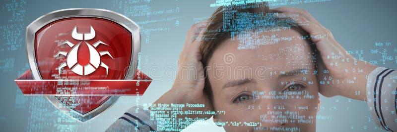 Immagine composita della donna di affari che tiene la sua testa fotografie stock