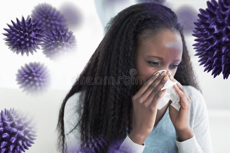 Immagine composita della fine su della donna che soffia il suo naso fotografia stock libera da diritti