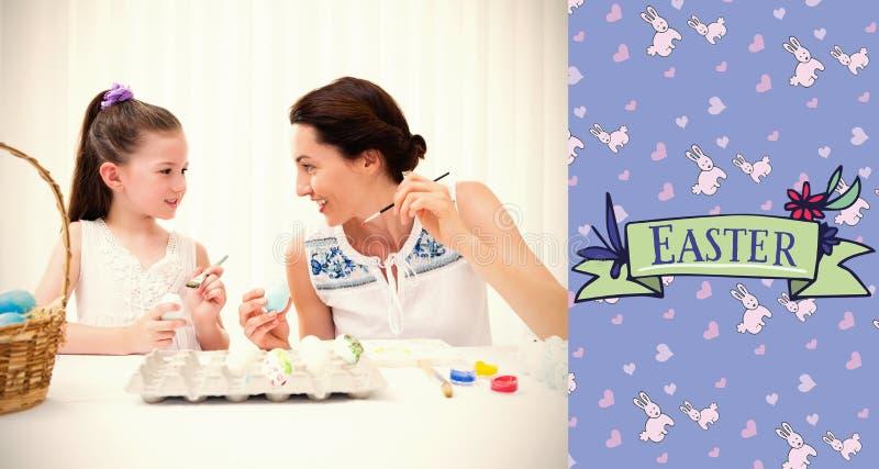 Immagine composita della madre e della figlia che dipingono le uova di Pasqua illustrazione vettoriale