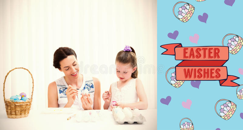 Immagine composita della madre e della figlia che dipingono le uova di Pasqua illustrazione di stock