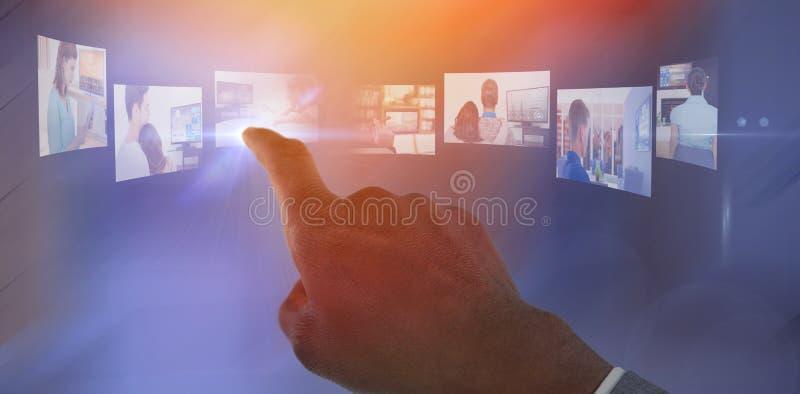 Immagine composita della mano che indica dito fotografia stock libera da diritti