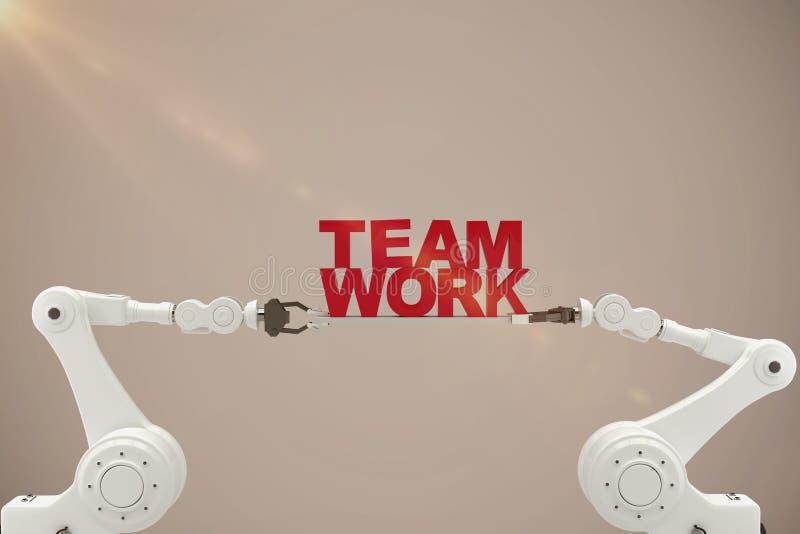 Immagine composita della mano robot che tiene il testo rosso del lavoro di gruppo sopra fondo beige royalty illustrazione gratis