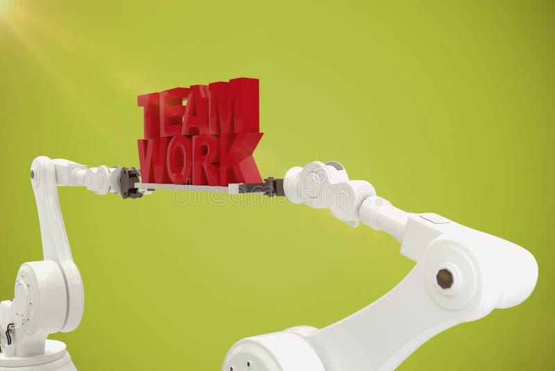 Immagine composita della mano robot che tiene il testo rosso del lavoro di gruppo sopra fondo bianco illustrazione vettoriale