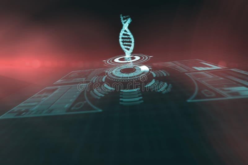 Immagine composita della manopola illuminata del volume con il filo 3d del DNA fotografia stock libera da diritti