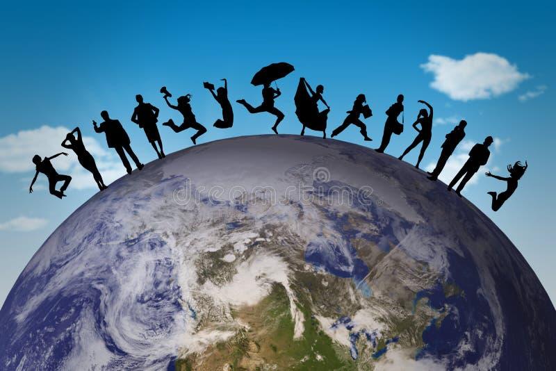 Immagine composita della siluetta di salto della famiglia royalty illustrazione gratis
