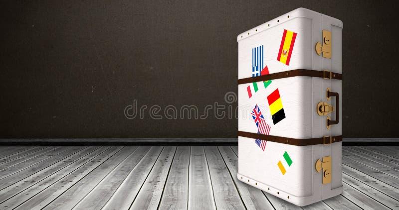 Immagine composita della valigia con gli autoadesivi illustrazione vettoriale