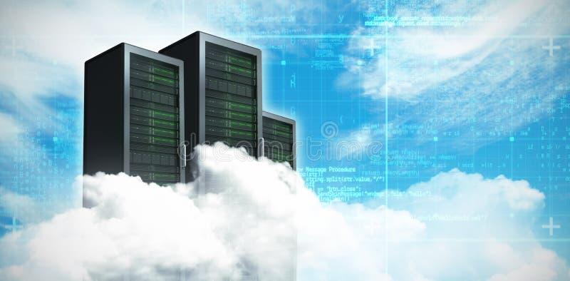 Immagine composita della vista scenica delle nuvole lanuginose bianche 3D illustrazione di stock