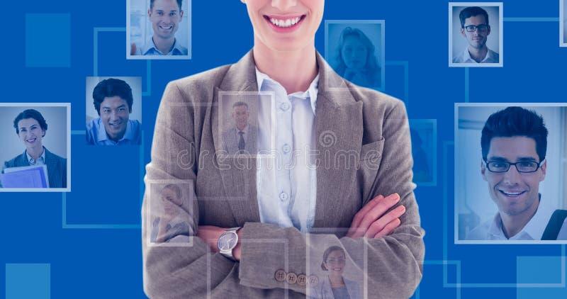 Immagine composita delle armi felici di condizione della donna di affari attraversate immagini stock libere da diritti