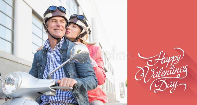 Immagine composita delle coppie senior felici che guidano un ciclomotore illustrazione vettoriale
