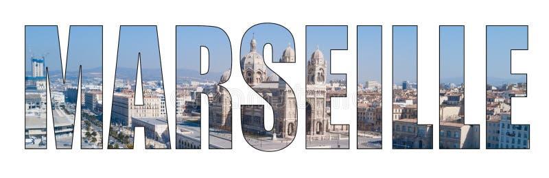 Immagine composita delle lettere di titolo della città di Marsiglia fotografia stock