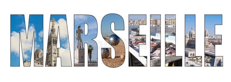 Immagine composita delle lettere di titolo della città di Marsiglia immagini stock