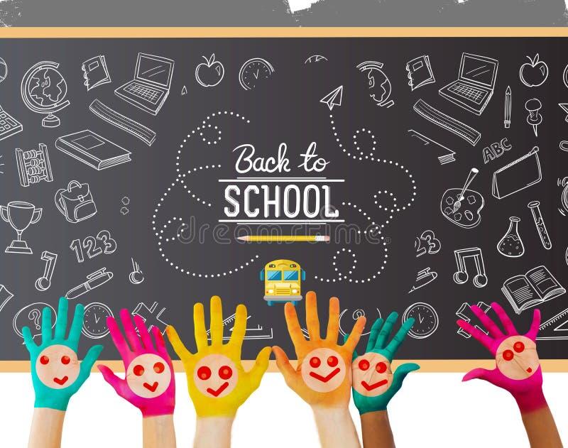 Immagine composita delle mani con i fronti sorridente colourful illustrazione di stock