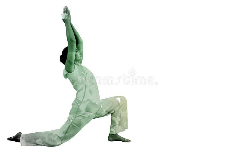 Immagine composita di castana contento nel 'chi' facente bianco del tai immagini stock