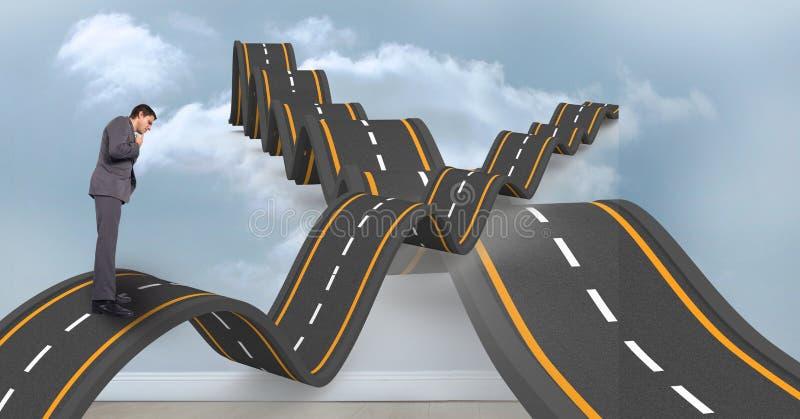 Immagine composita di Digital dell'uomo d'affari confuso sulla strada ondulata in cielo fotografia stock