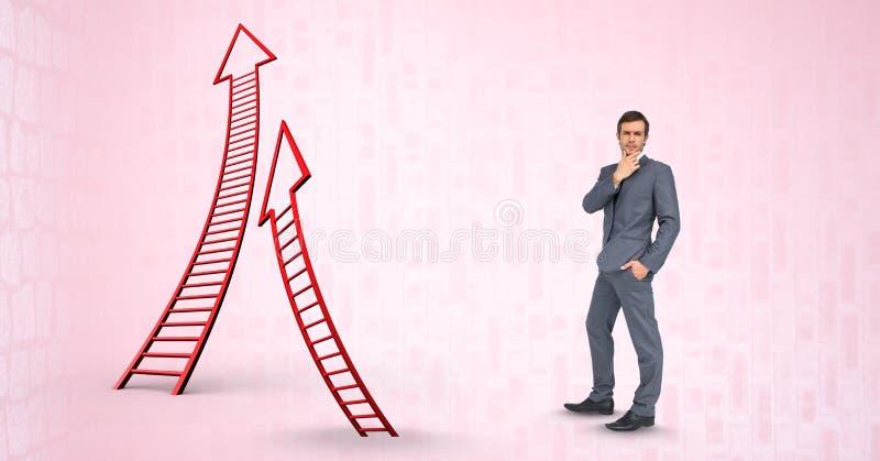 Immagine composita di Digital dell'uomo d'affari dalle scale a forma di freccia immagini stock