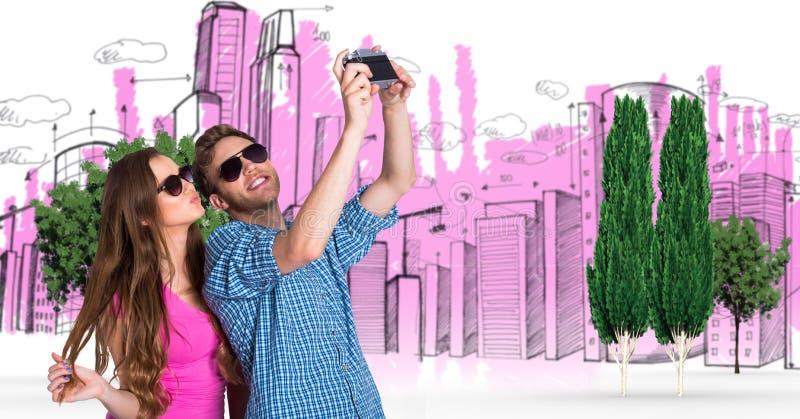 Immagine composita di Digital delle coppie che prendono selfie con le costruzioni e gli alberi nel fondo immagini stock libere da diritti