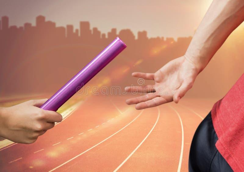 Immagine composita di Digital delle mani che passano il bastone fotografie stock libere da diritti