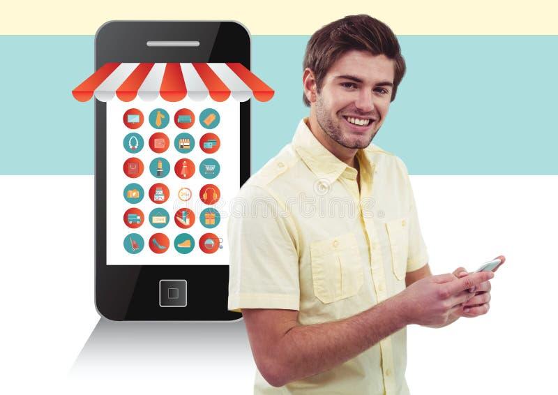 Immagine composita di Digital di un uomo che per mezzo dello smartphone con il concetto online di acquisto immagine stock libera da diritti