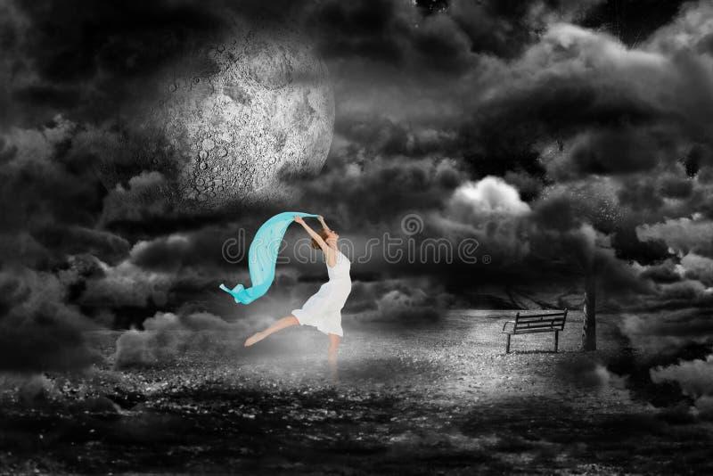 Immagine composita di giovane bello ballerino femminile con la sciarpa blu immagini stock libere da diritti