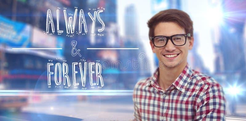 Immagine composita di giovane sorridere dell'uomo d'affari fotografia stock