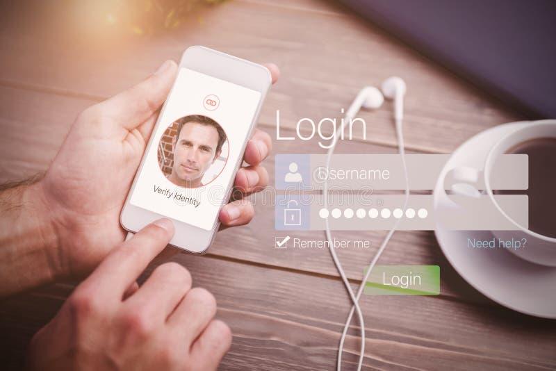 Immagine composita di identificazione sull'interfaccia fotografia stock