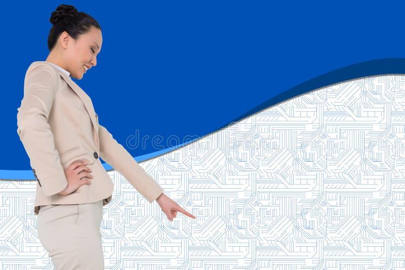 Immagine composita di indicare asiatico della donna di affari immagini stock libere da diritti