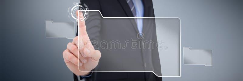 Immagine composita di metà di sezione dell'uomo d'affari che indica qualcosa su fotografie stock