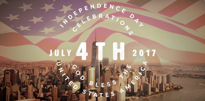 Immagine composita di multi quarta felice colorato del testo di luglio contro fondo bianco royalty illustrazione gratis