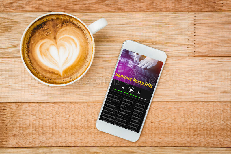 Immagine composita di musica app fotografia stock