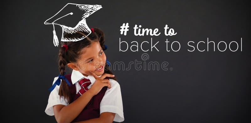 Immagine composita di nuovo al testo di scuola con hashtag fotografie stock