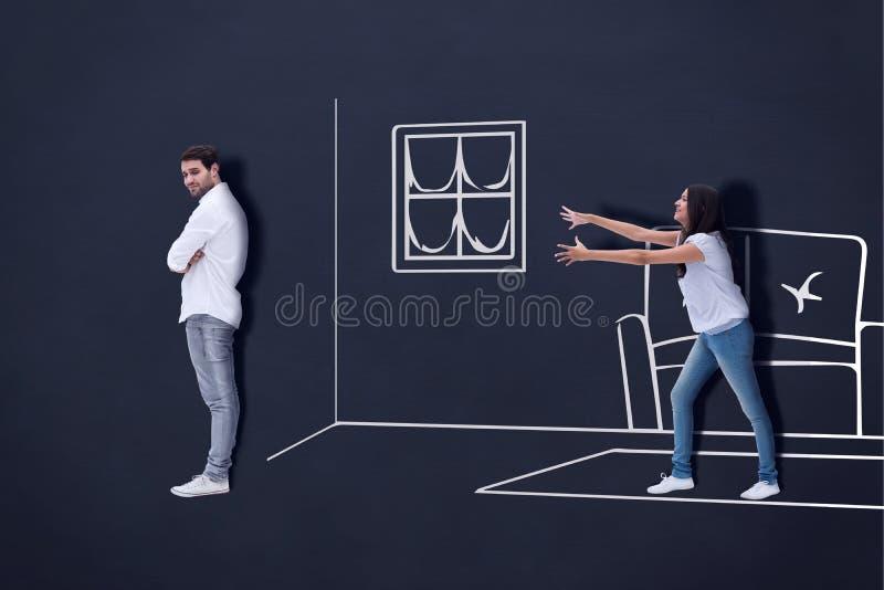 Immagine composita di raggiungimento castana disperatamente per l'uomo fotografia stock libera da diritti