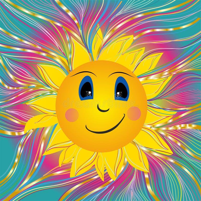 Immagine con il sole allegro illustrazione di stock