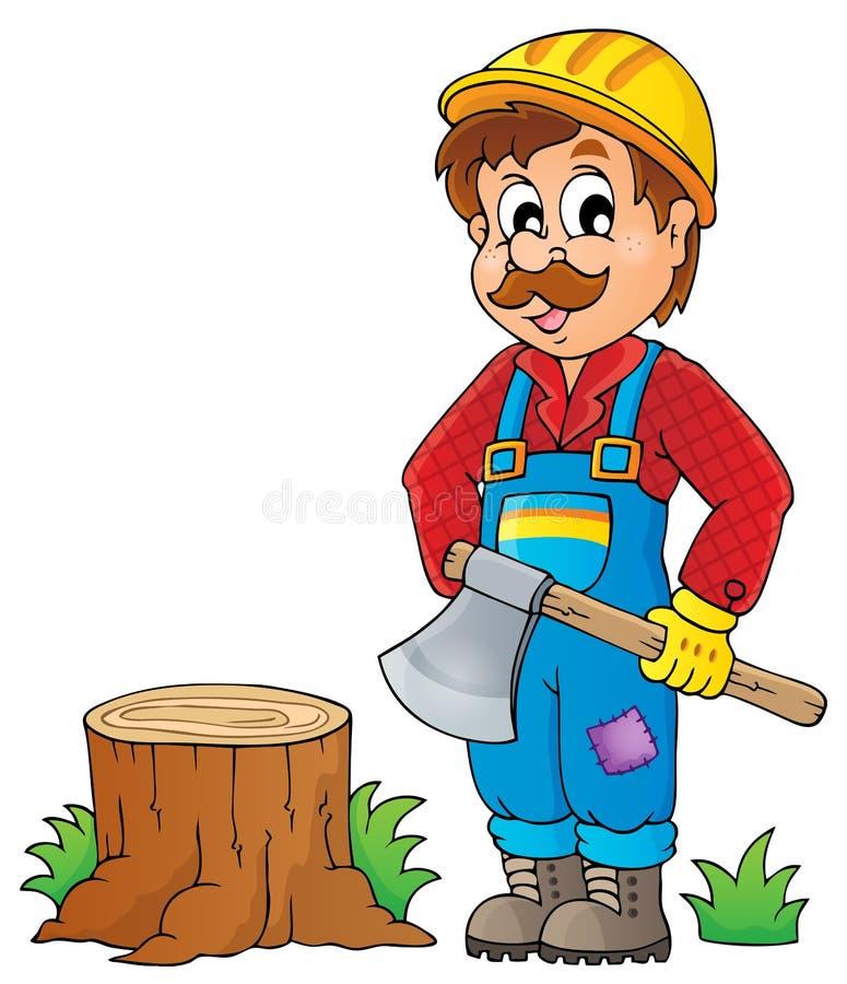 Immagine con il tema 1 del boscaiolo illustrazione di stock