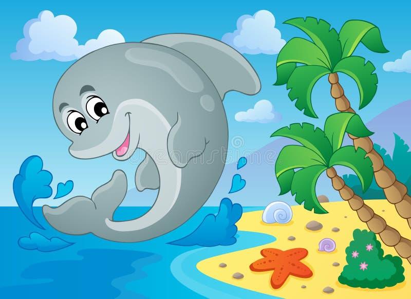 Immagine con il tema 5 del delfino illustrazione vettoriale