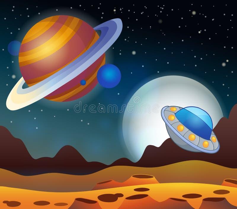 Immagine con il tema 2 dello spazio illustrazione vettoriale