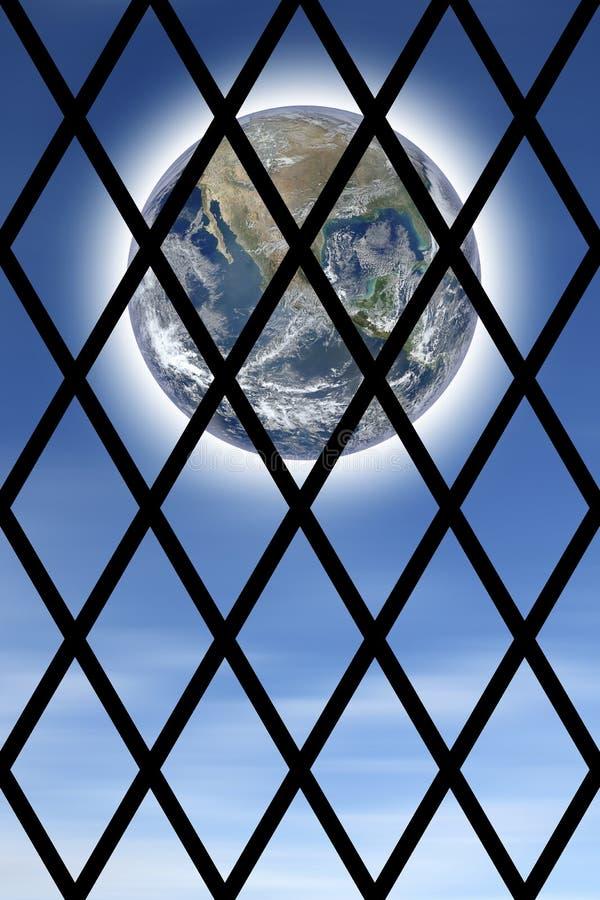 Immagine concettuale del mondo visto attraverso le barre di una prigione - immagine di concetto fotografia stock