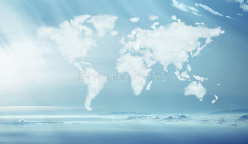 Immagine concettuale delle nuvole dense nella forma mondiale fotografia stock libera da diritti