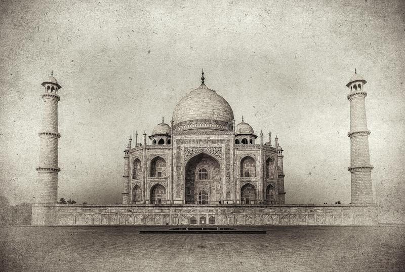 Immagine d'annata di Taj Mahal ad alba, Agra, India royalty illustrazione gratis