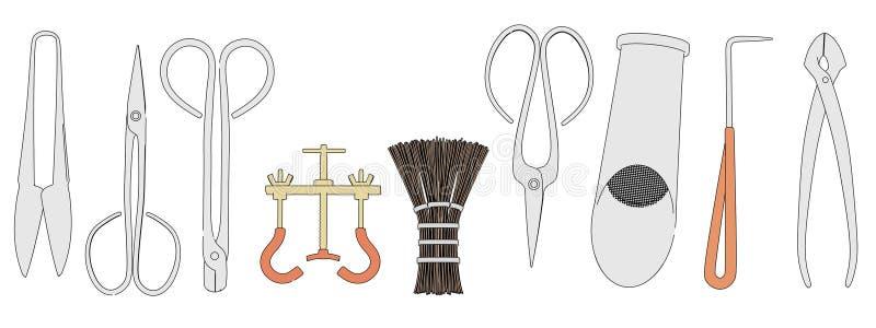Immagine degli strumenti dei bonsai illustrazione di stock