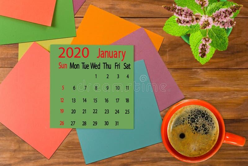 immagine del calendario per gennaio 2020 immagini stock