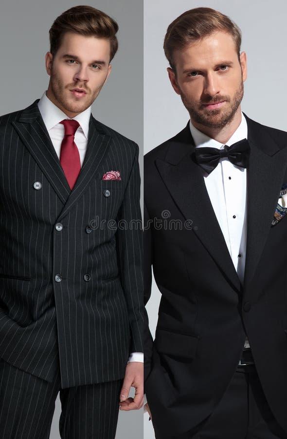 Immagine del collage di giovane uomo casuale e di uno sposo fotografia stock
