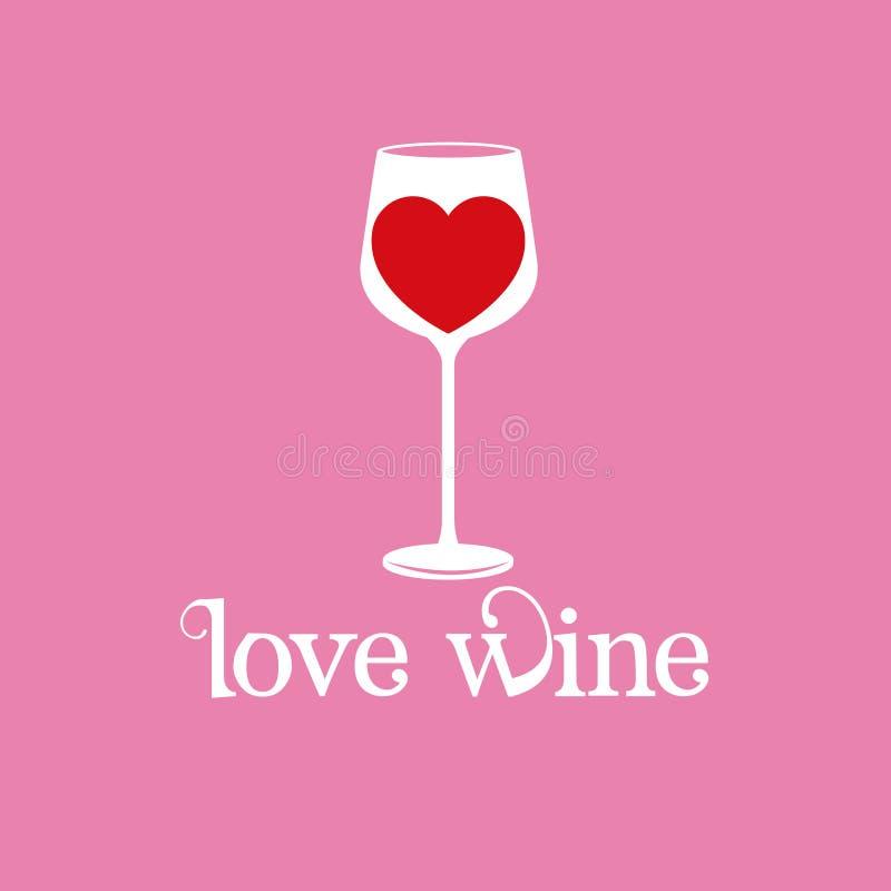 Immagine del cuore della cristalleria del vino di amore illustrazione vettoriale