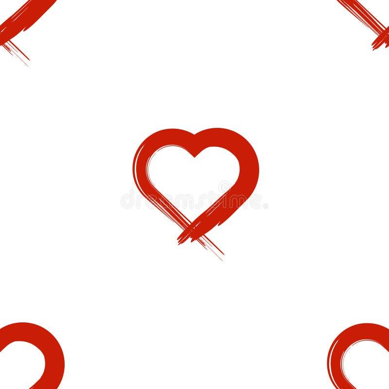 Immagine del cuore inflitto con una spazzola Reticolo senza giunte Vettore su fondo bianco royalty illustrazione gratis