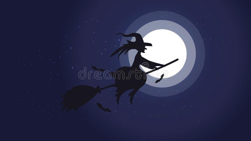 Immagine del fondo di notte di Halloween con la strega ed i pipistrelli di volo , Elementi di vettore per l'insegna, cartolina d' illustrazione vettoriale