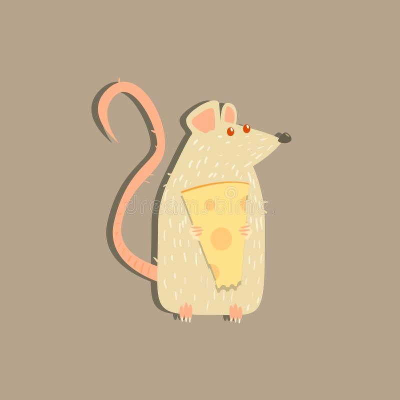 Immagine del formaggio della tenuta del ratto illustrazione di stock