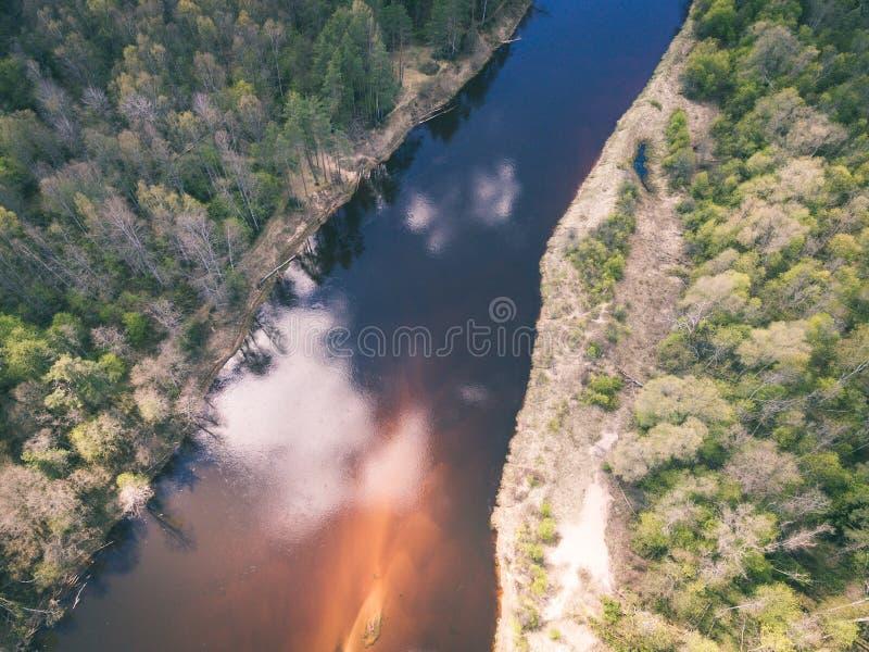 immagine del fuco vista aerea di zona rurale - effetto d'annata fotografie stock libere da diritti