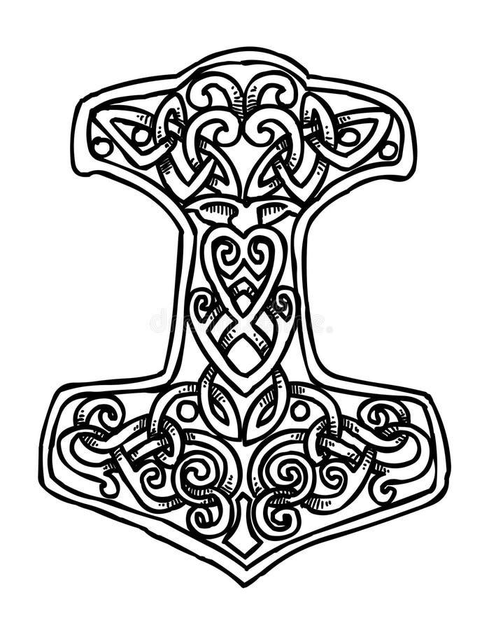 immagine del fumetto di thor hammer icon illustrazione