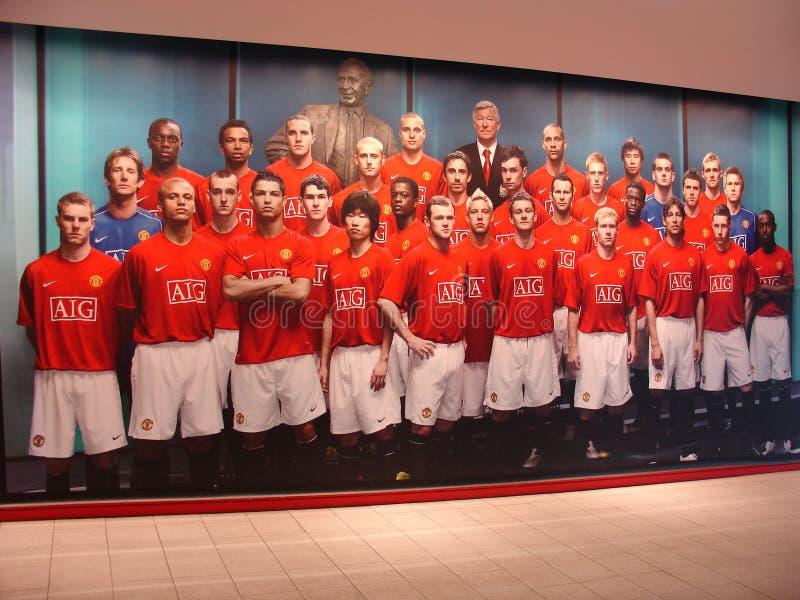 Immagine del Manchester United della squadra di football americano sulla parete del negozio del club fotografia stock